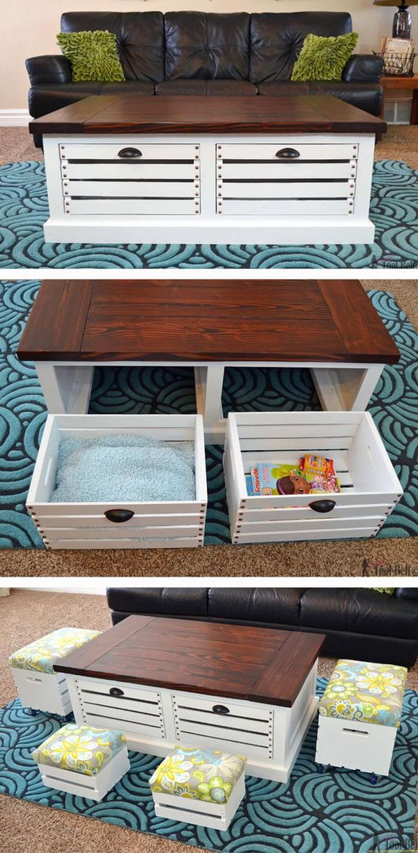 1 DIY Crate Storage Coffee Table and Stools