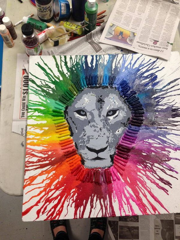 1 Melted Crayon Art Lion
