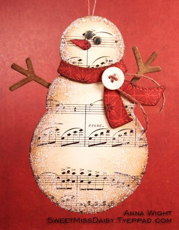 1 Music Paper Snowman DIY Christmas Card