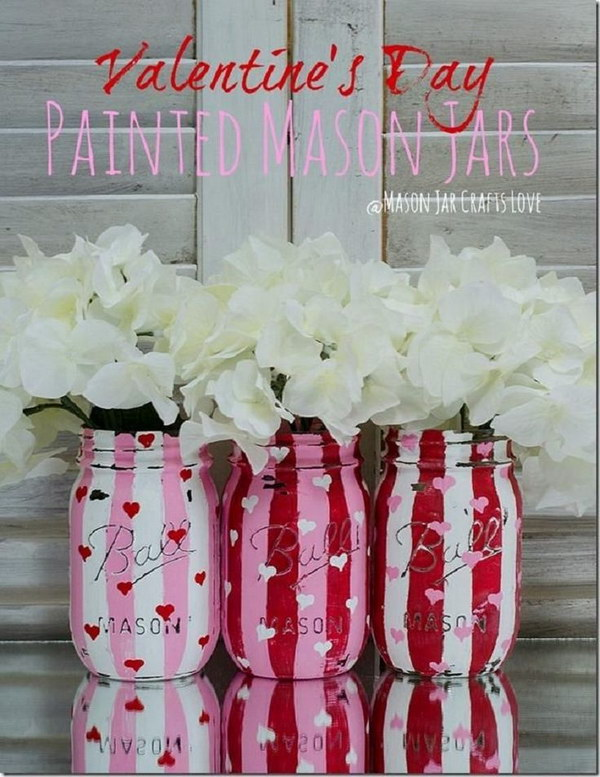 1 Valentine Painted and Distressed Heart Mason Jars