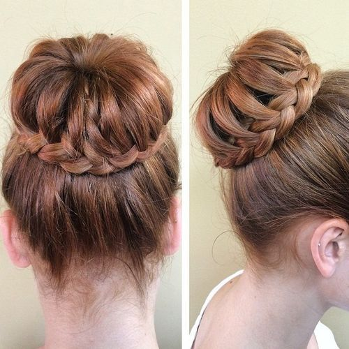 1 braid around bun