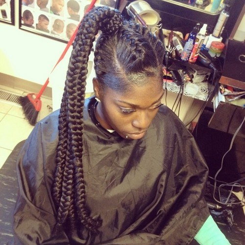 1 extra long black braided ponytail