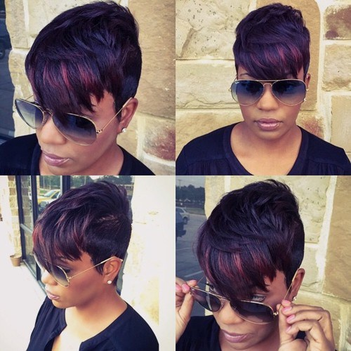 1 layered pixie with highlights in bangs