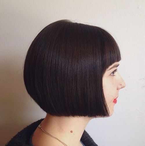 1 sleek blunt bob with arched bangs