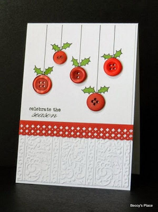 10 Button Ornament Christmas Card