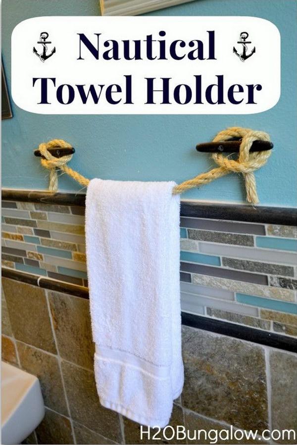 10  DIY Nautical Rope Towel Holder