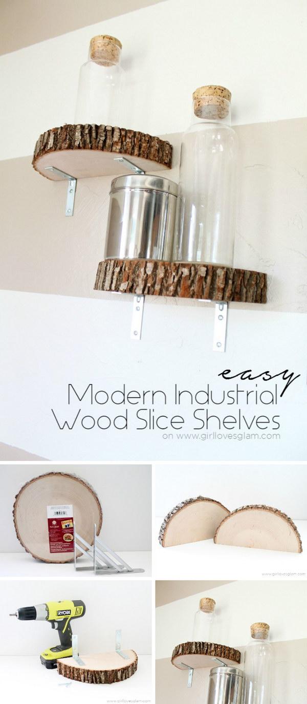 10 Modern Industrial Wood Slice Shelf