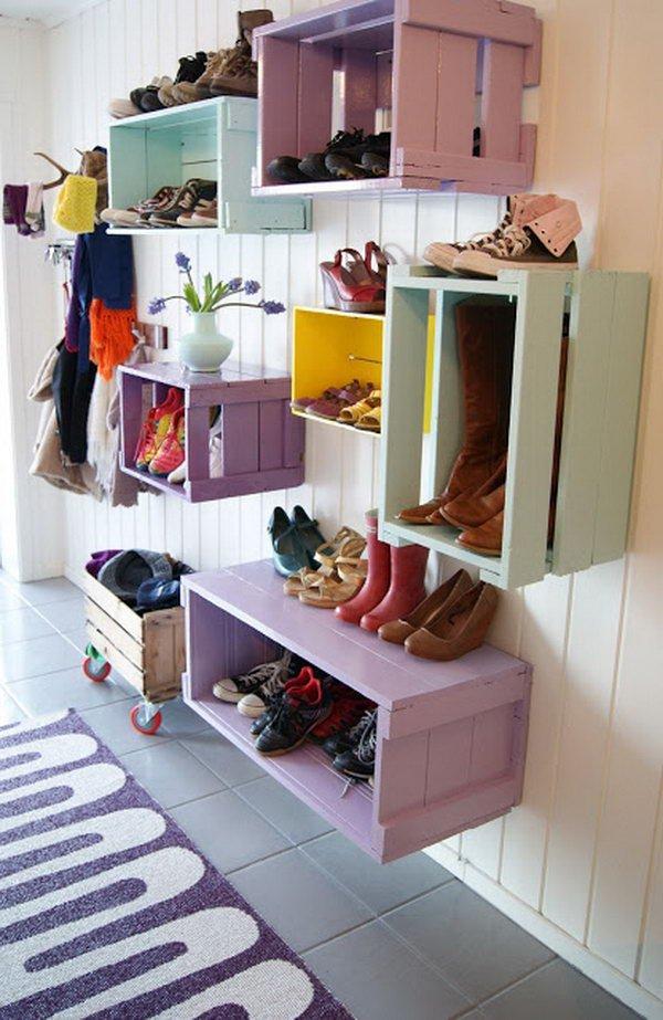 10 Wine Crates Shoe Racks on the Wall