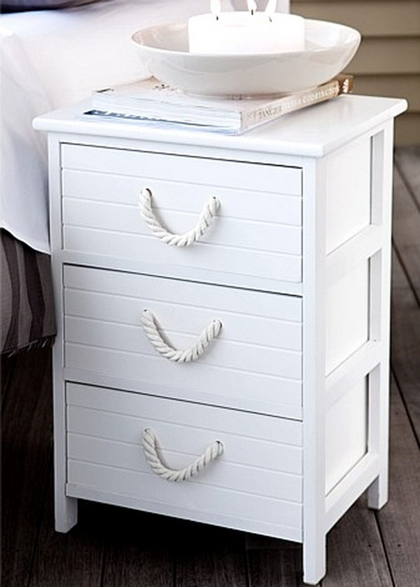11 Nautical Nightstand With Thick Rope Handles In White