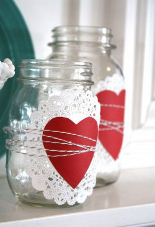 11 Paper Doily Valentine's Day Mason Jar