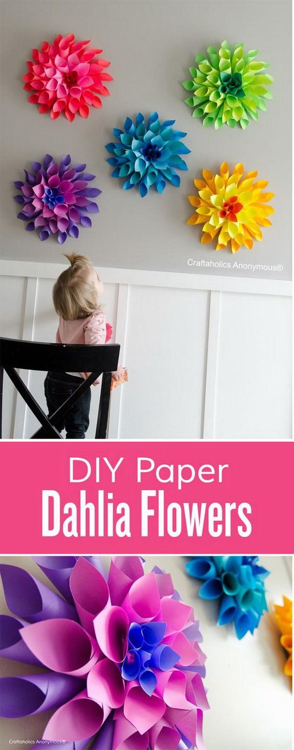 11 Rainbow Paper Dahlia Flowers
