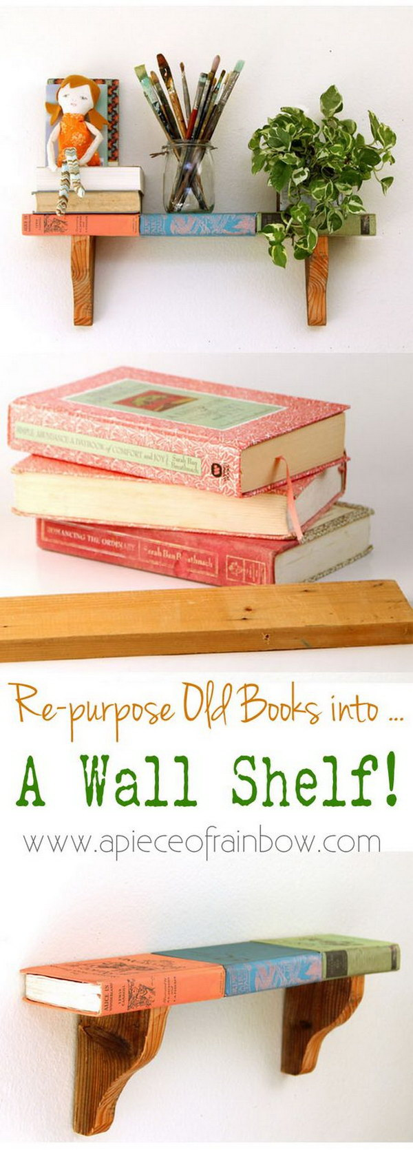 11 Wall Shelf From Faux Vintage Books