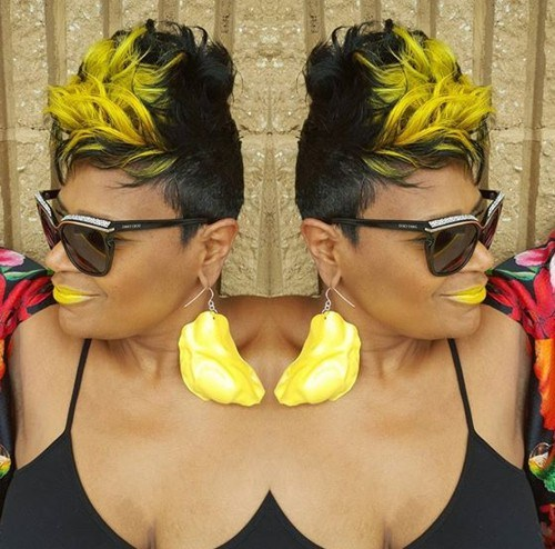 11 black and yellow funky hairstyle