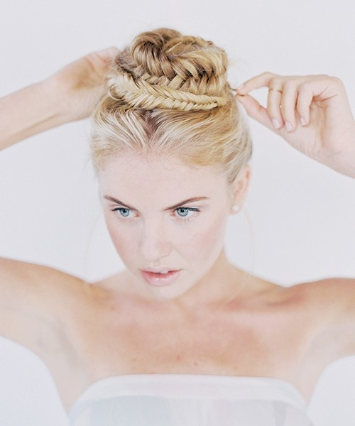 11 quick updo with a fishtailed balerina bun