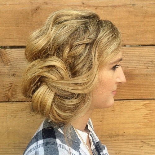 11 side braid and twisted side bun updo