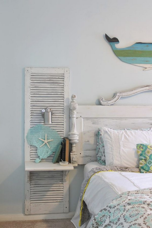 12 DIY Old Shutter Nightstand For A Beach Bedroom