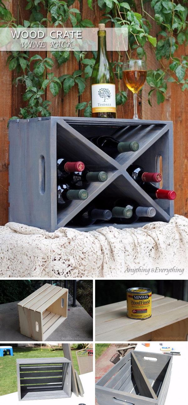12 DIY Wood Crate Wine Rack Tutorial