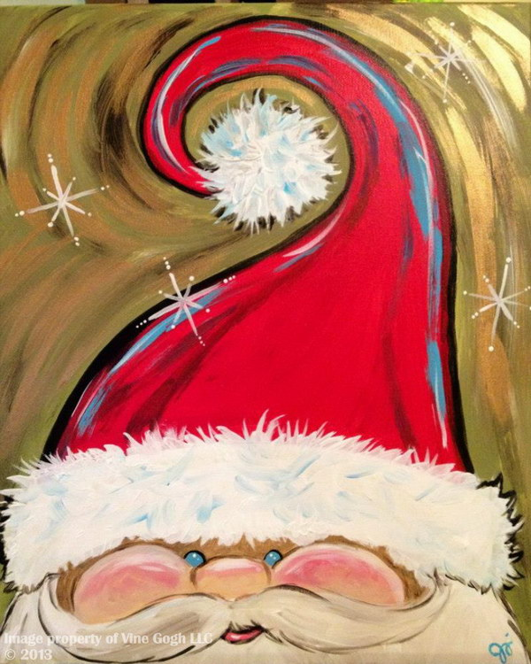 12 Hand Painted Adorable Santa Face