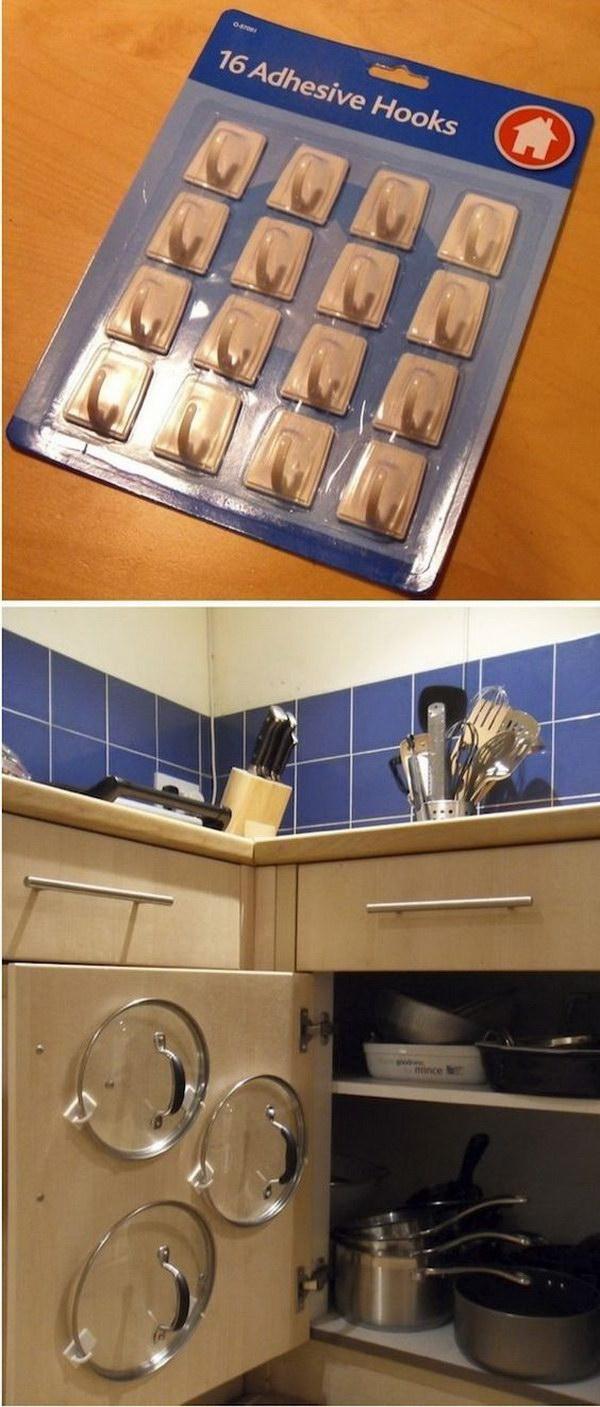 12 Lids Storage with Adhesive Hooks