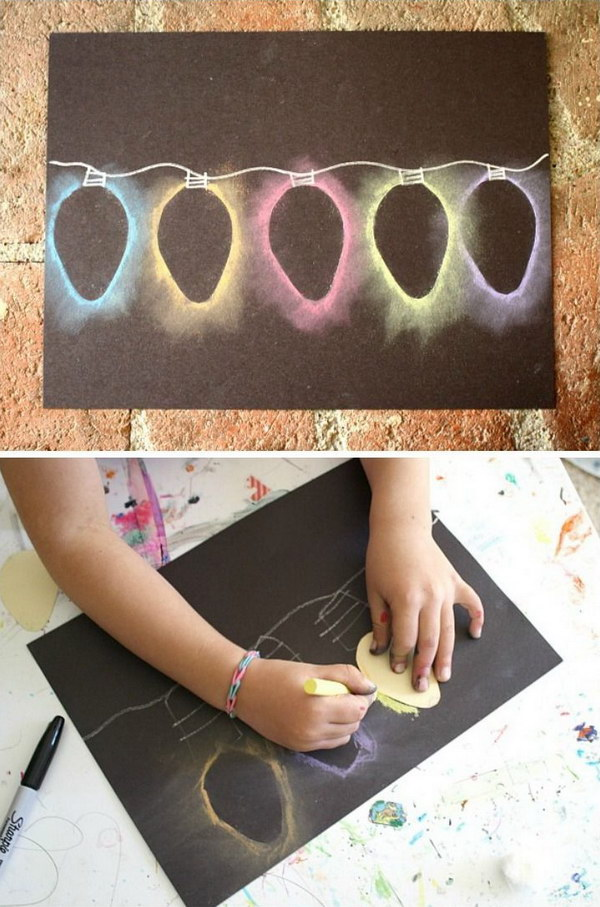 12 Light Chalk Stencil Art Christmas Card
