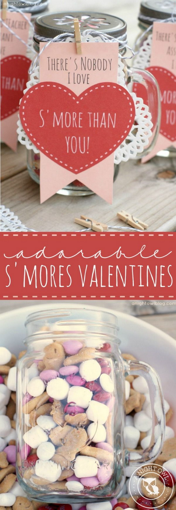 12 Mason Jars Filled with S'mores Snack Mix Includes FREE Printables