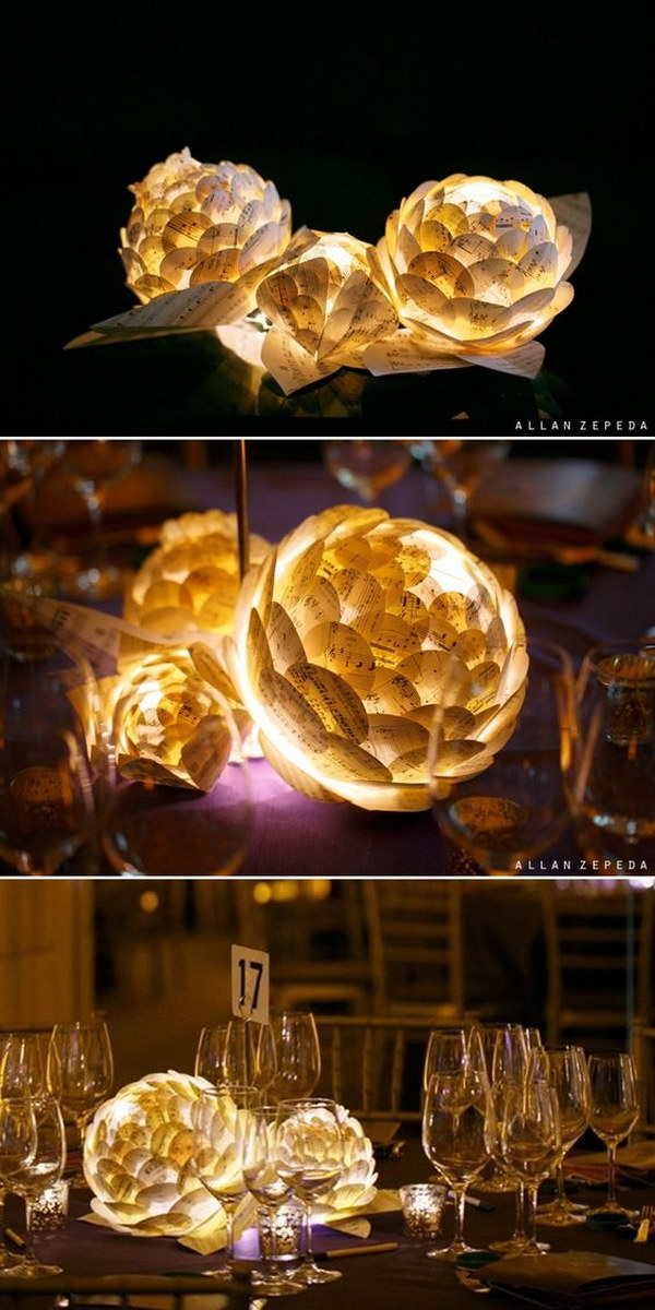 12 Paper Flowers With LED Lamp Inside Centerpieces