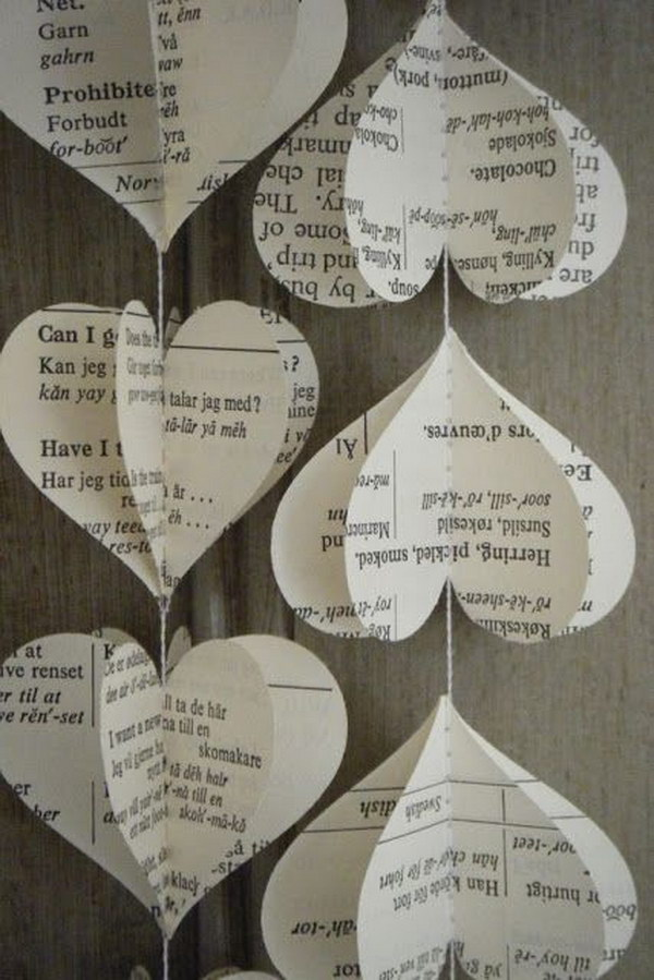 12 Upcycled Old Book Page Heart Garland
