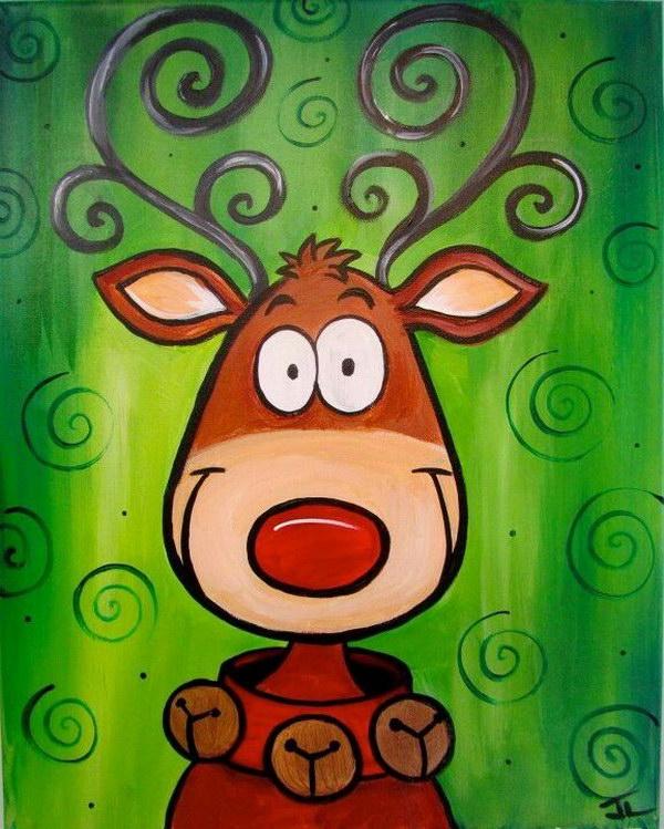 13 Cute Reindeer Christmas Canvas