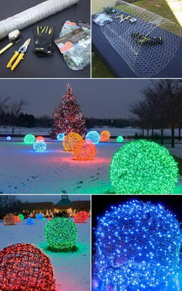 13 DIY Christmas Light Balls