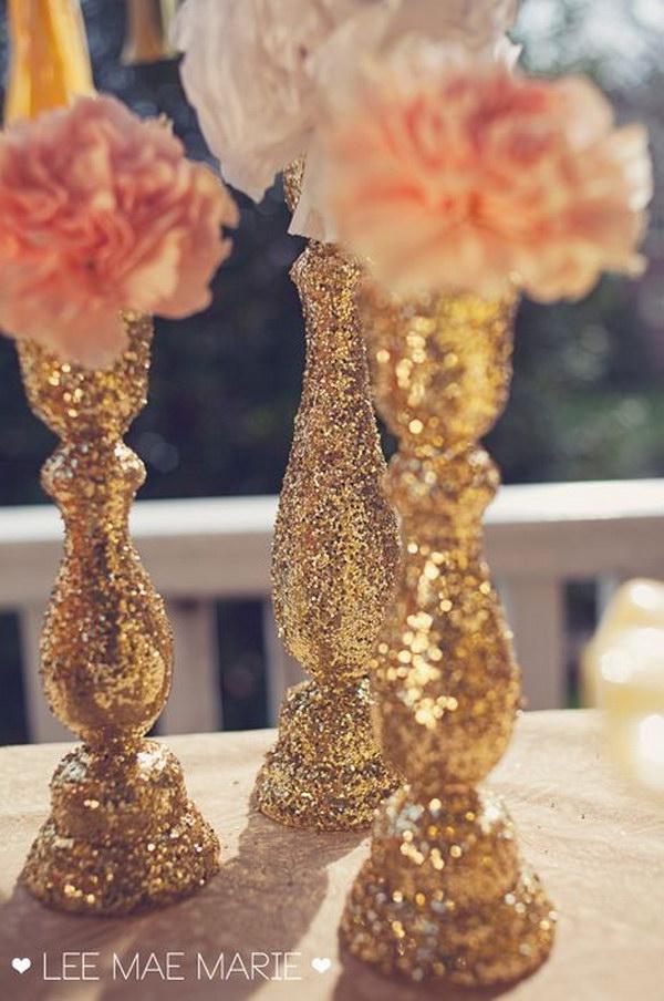 13 DIY Glittered Candle Sticks