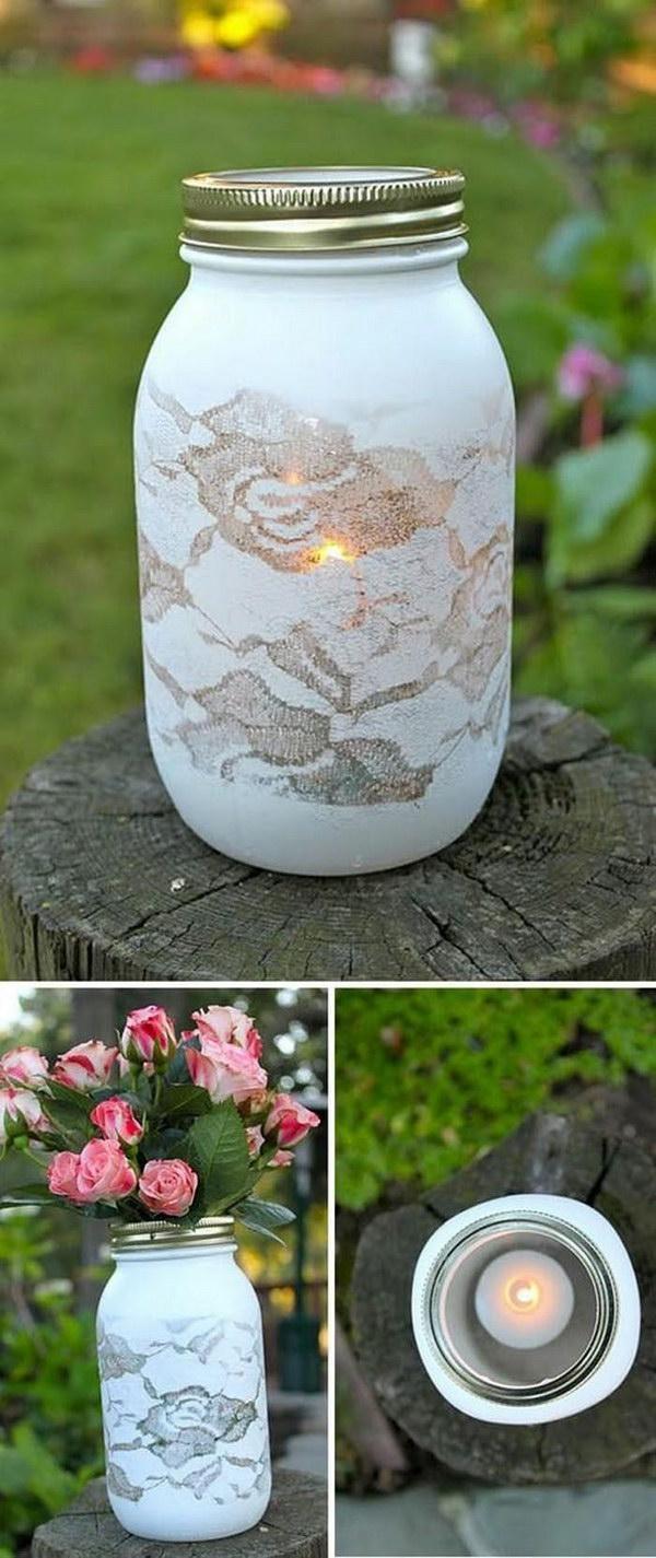 13 Lace Stenciled Mason Jar Flower Vase