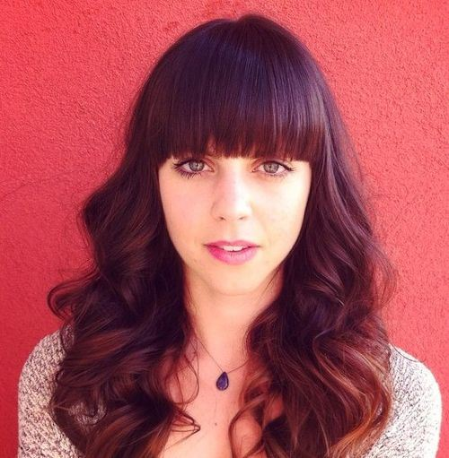 13 long wavy hairstyle with straight bangs