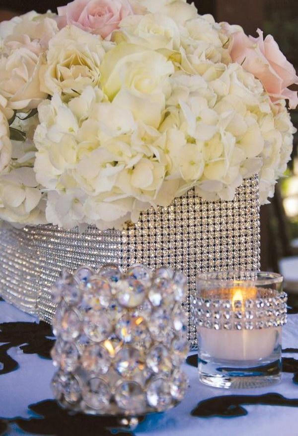 14 Diamond Mesh Wrapped Centerpieces