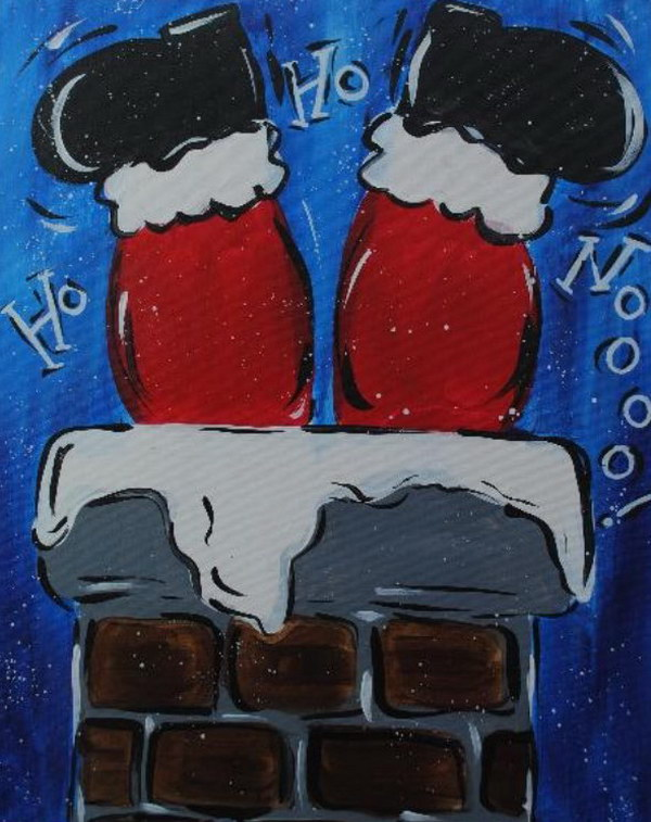 14 Santa Going Down Chimney Canvas