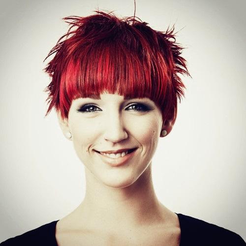 14 red choppy haircut