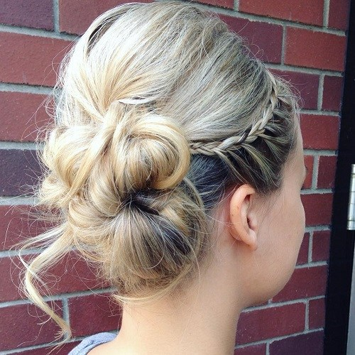 14 side bun with a bouffant