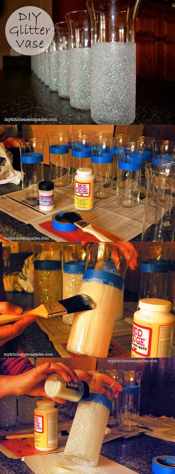 15 DIY Glitter Vases For Wedding Decoration