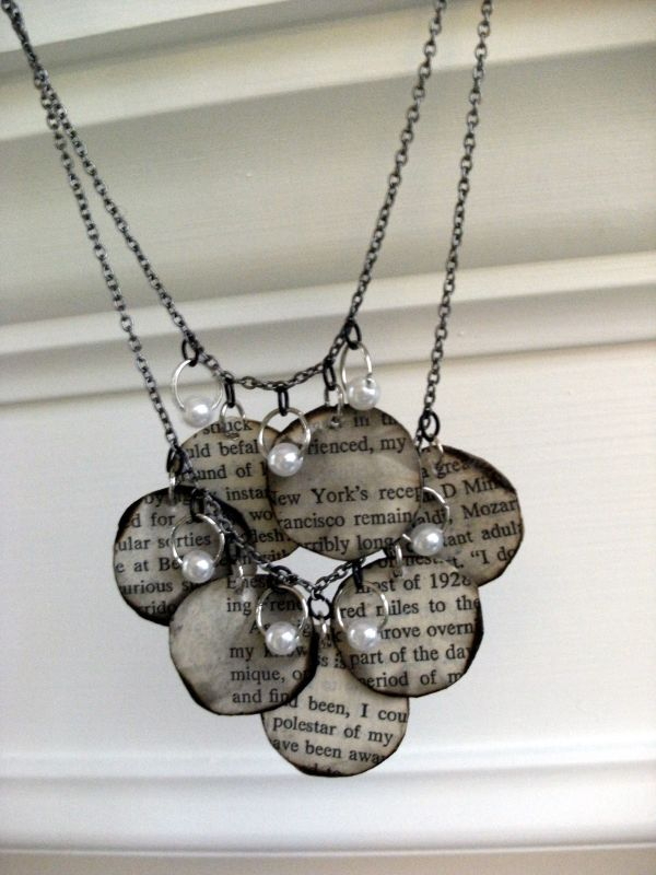 15  Recycling Old Book Paper Necklace