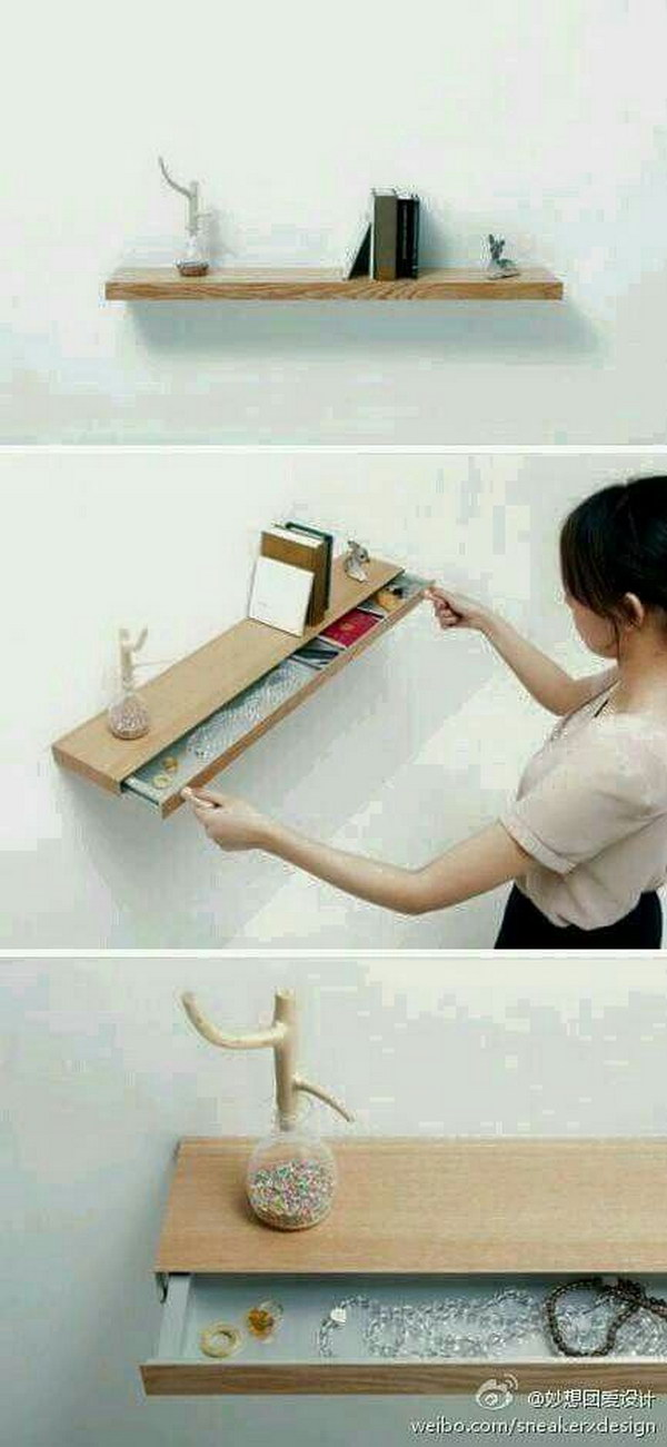 16 Cute Floating Shelf with Drawer