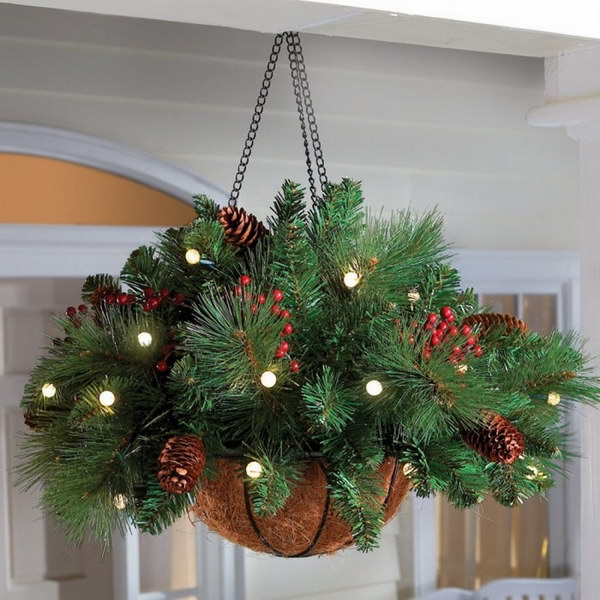 16 Evergreen Hanging Basket