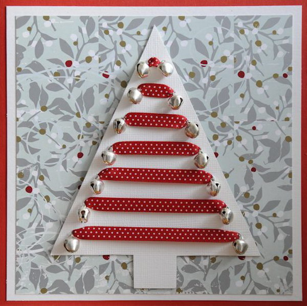 16 Jingle Bell Ornaments Christmas Tree Card