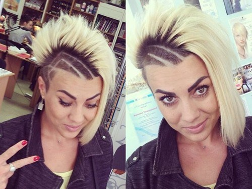 16 bold black and blonde asymmetrical cut