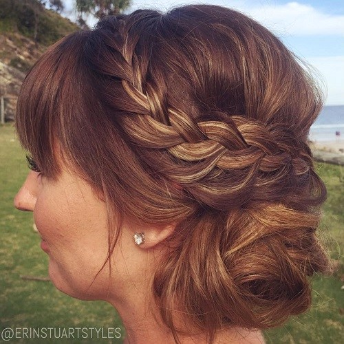 16 side bun with braid and bangs