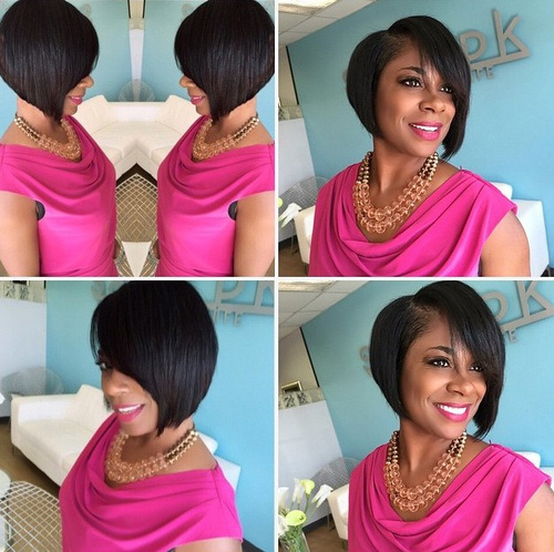 16 sideparted angled bob for black women
