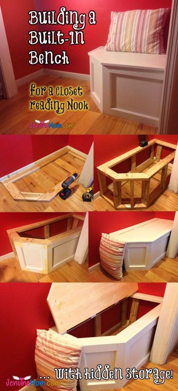 17 DIY Built-in Bench With Hidden Storage