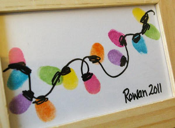 17 Thumb-Print String of Lights Christmas Card
