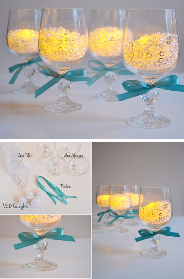 17  Wineglass Candle Holders Wedding Centerpiece