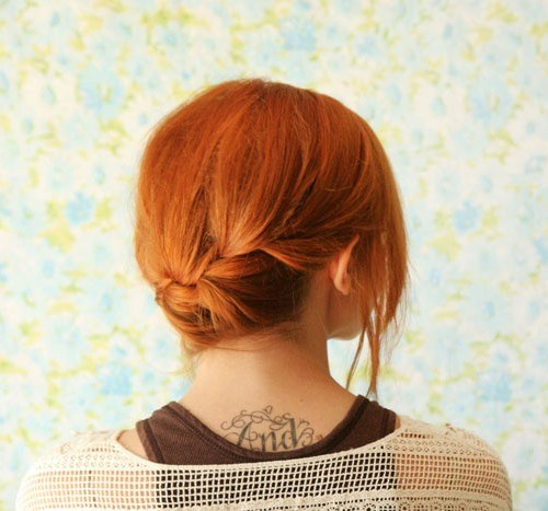 17 quick french braid updo with bangs