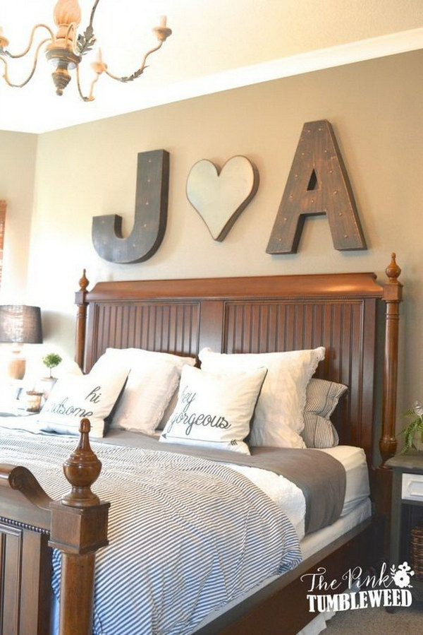 18 Bold Initials Above the Bed