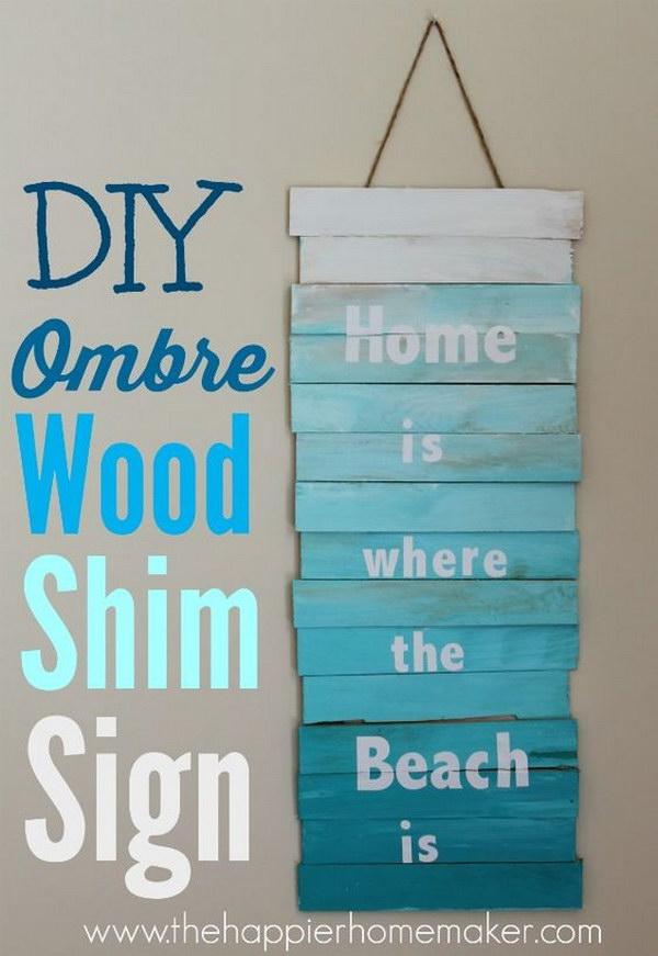 18 DIY Ombre Wood Shim Sign